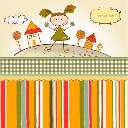 nice house: happy little girl