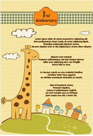 customizable cute background with little giraffe Stock Vector - 9346511