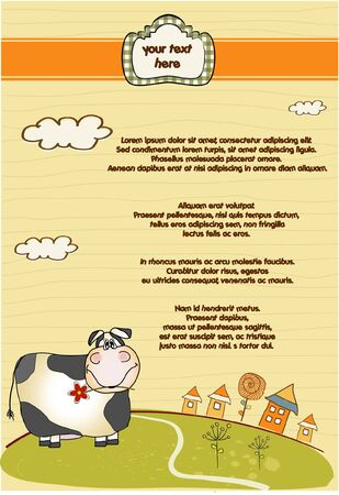 customizable fun background with cow  Vector