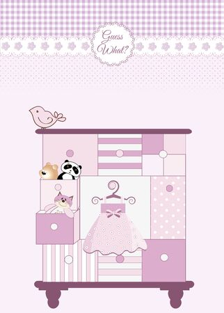 new baby greeting card with nice closed  Vector