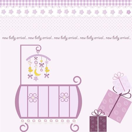 sophisticated: baby girl shower invitation  Stock Photo