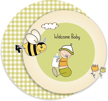 baby arrival announcement card Stock Vector - 9806320
