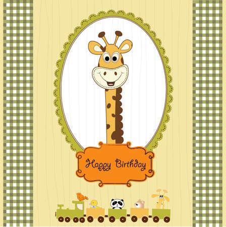 birthday train: birthday greeting card with giraffe and animals train