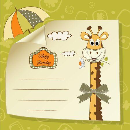 tarjeta de felicitación de cumpleaños con jirafa