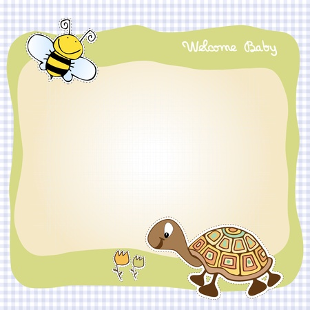 turtles love: baby announcement card  Illustration