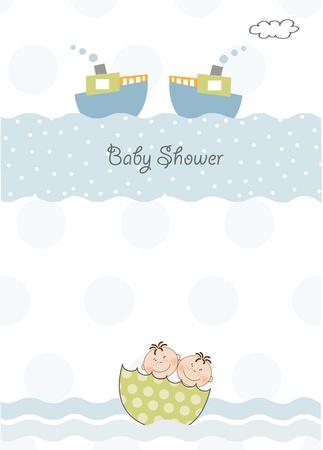 쌍둥이 아기 샤워 초대장 스톡 콘텐츠 - 9806172