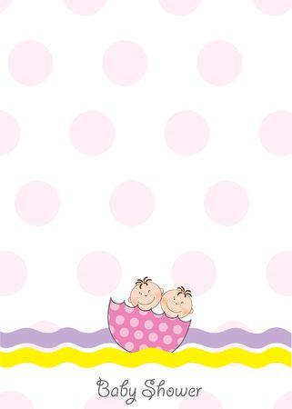 ni�as gemelas: invitaci�n de ducha para beb�s gemelos