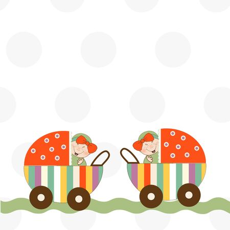 welcome, baby twins announcement card  Vector
