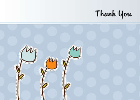 thank you flowers card  Vector