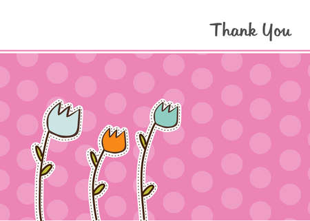thank you flowers card  Stock Vector - 9806174