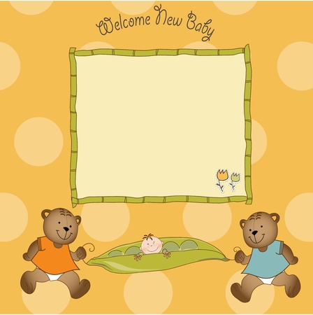twins baby shower greeting card  Vector
