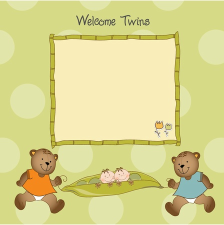 twins baby shower greeting card Stock Vector - 9806142