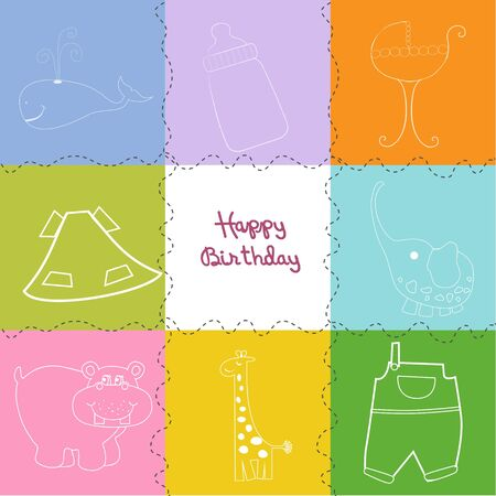 happy birthday greeting card  Stock Vector - 9806138