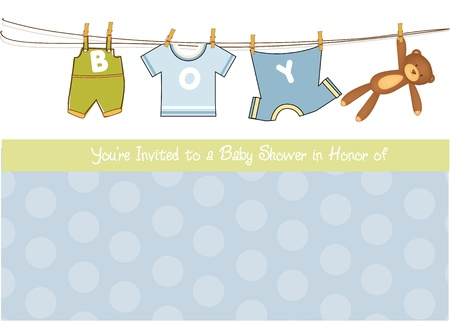 baby boy shower: baby boy shower announcement card  Illustration