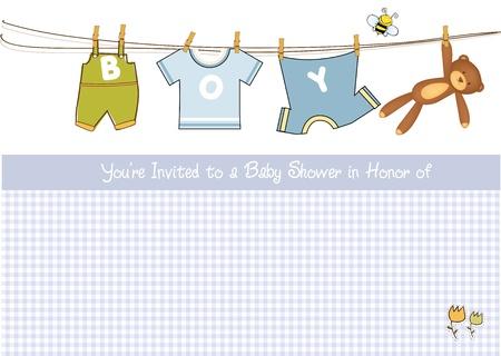 baby shower: baby boy shower announcement card  Illustration