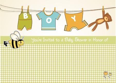 ribbons hang: baby boy shower announcement card  Illustration