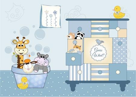 flusspferd: Tier-Babyparty Illustration