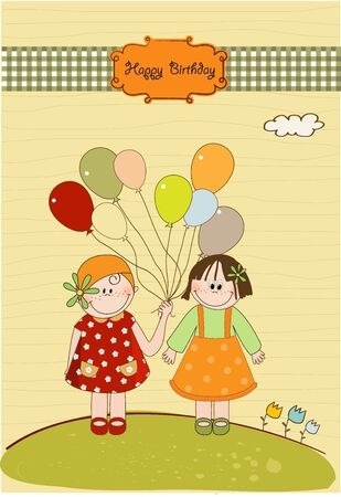 best friends greeting card Stock Vector - 9806675