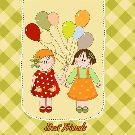 best friends greeting card  Vector