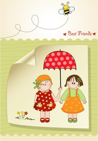best friends greeting card Stock Vector - 9806636