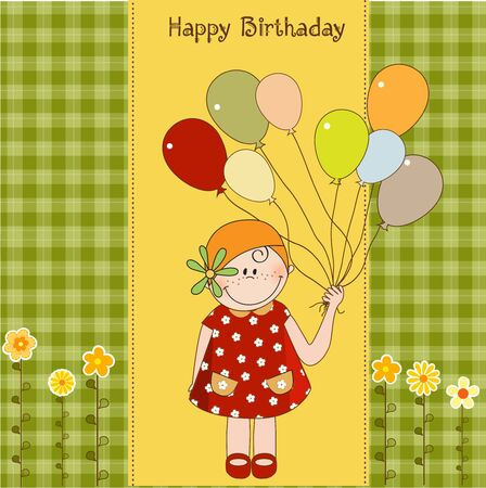 birthday greeting card with girl Stock Vector - 9806522