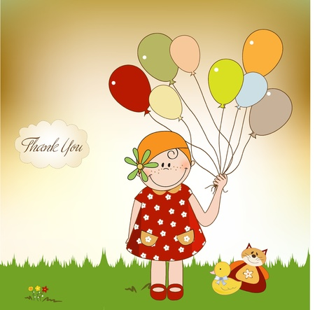 thank you card: thank you card with girl Illustration