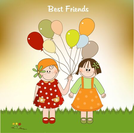 best friends greeting card Stock Vector - 9806632
