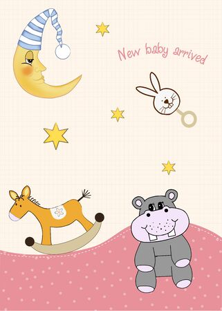 welcome, baby announcement card  Vector