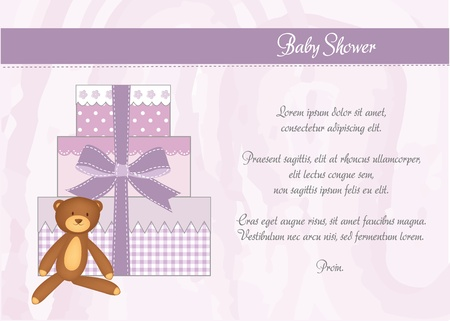 nice girls: baby shower card with gifts  Illustration
