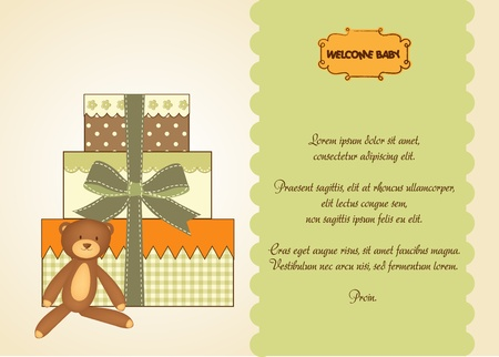 adoring: baby shower card with gifts  Illustration
