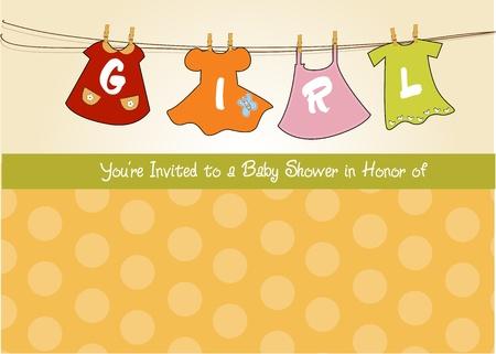 baby girl shower announcement card Vetores