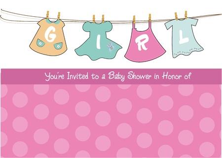 girl shower: tarjeta de beb� ni�a ducha anuncio