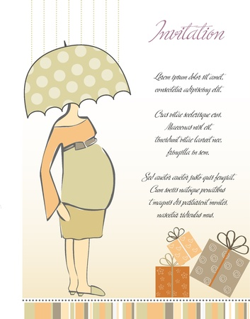 new baby shower invitation with pregnant expectant mother  Vector
