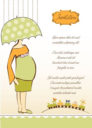expectant: new baby shower invitation with pregnant expectant mother