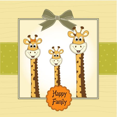 familia feliz, de jirafa