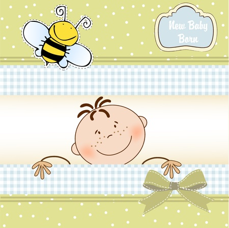 bee party: baby announcement card  Illustration