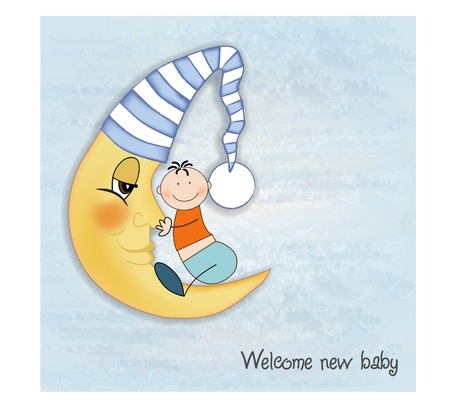 welcome baby greetings card  Vector