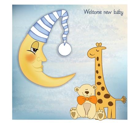 tarjeta de saludos de bienvenida beb�  Vectores