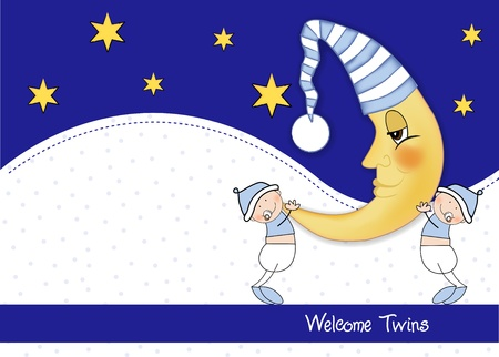 welcome twins baby card Stock Vector - 9806737