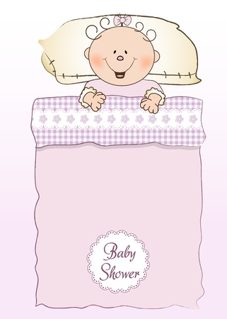 playfulness: baby shower invitation with a child sleeping in his crib