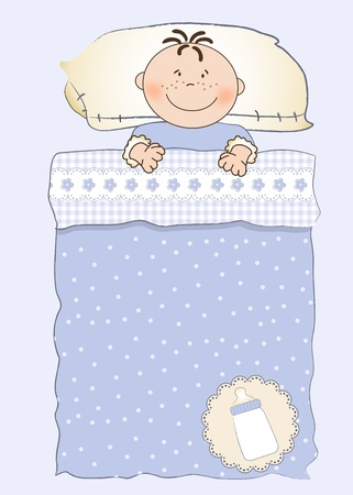 baby shower invitation with a child sleeping in his crib Stock Vector - 9806706