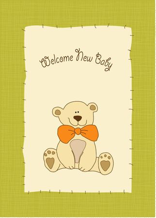 new baby invitation with teddy bear  Vector