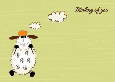 spring lambs: cute love card with sheep