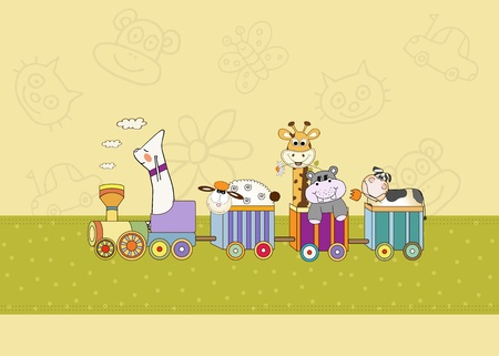 customizable birthday card with animal toys train  Stock Vector - 9806440