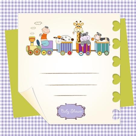 customizable birthday card with animal toys train  Stock Vector - 9806530