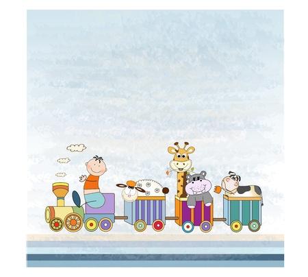 birthday train: customizable birthday card with animal toys train  Illustration