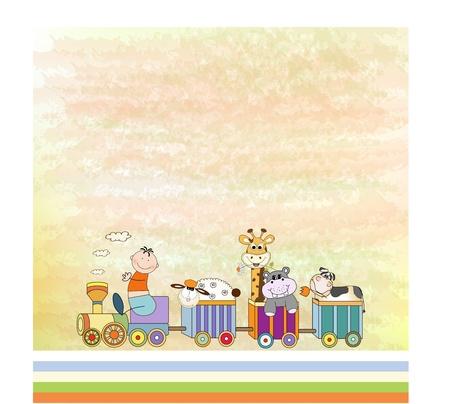 customizable birthday card with animal toys train  Vector