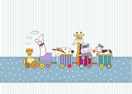 customizable birthday card with animal toys train Stock Vector - 9806447