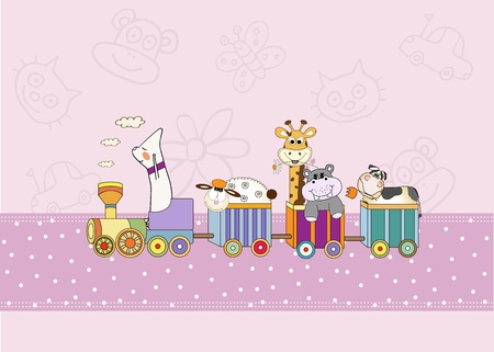 customizable birthday card with animal toys train  Illustration