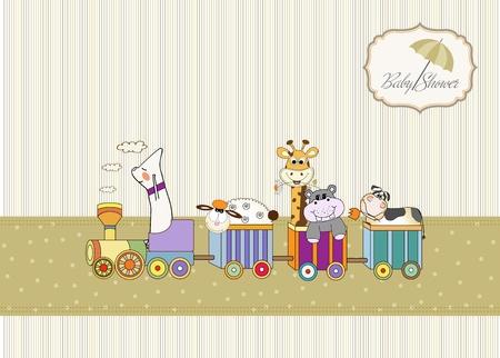 customizable birthday card with animal toys train Stock Vector - 9806462